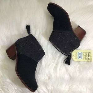 Toms Lelia suede wool booties ankle boots black